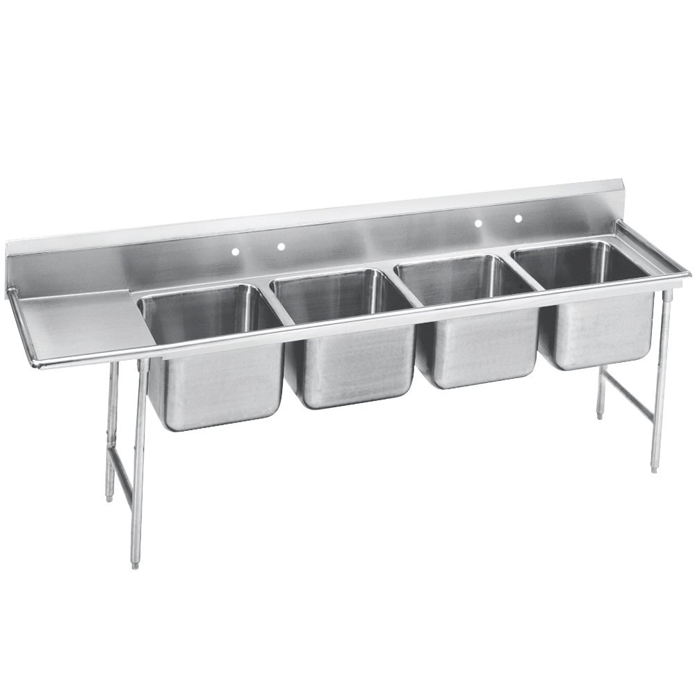 Advance Tabco 93-44-96-24 Regaline Four Compartment Stainless Steel Sink with One Drainboard - 133""