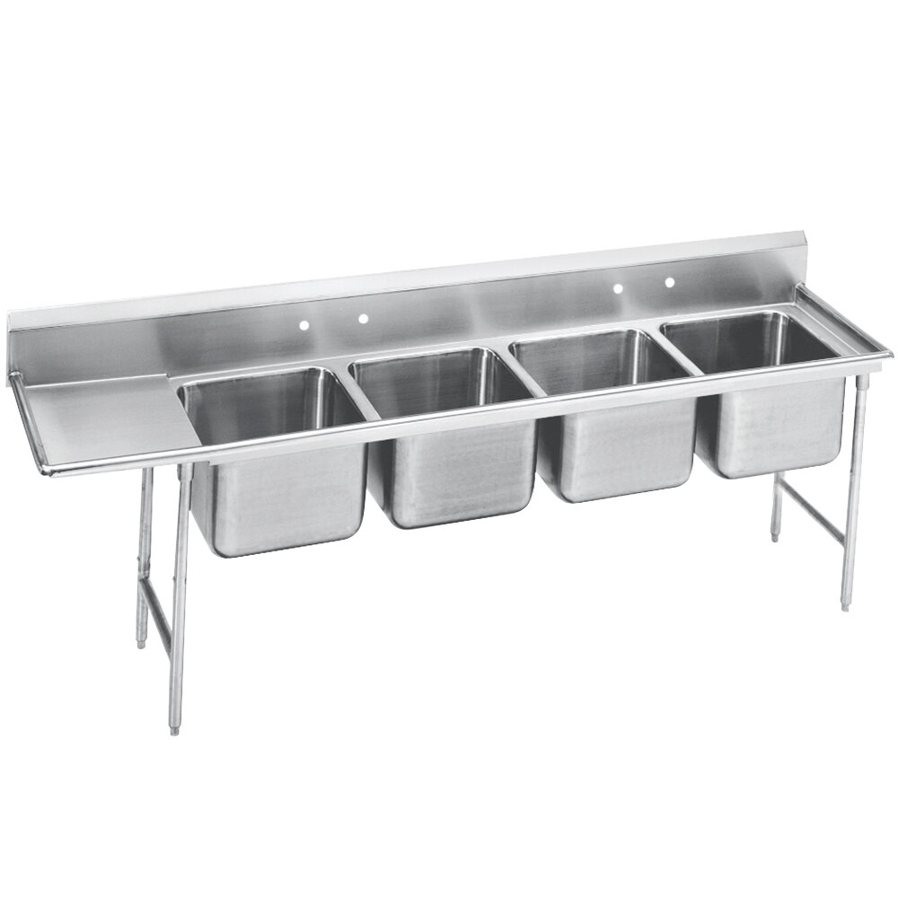 Advance Tabco 93-4-72-36 Regaline Four Compartment Stainless Steel Sink with One Drainboard - 113""