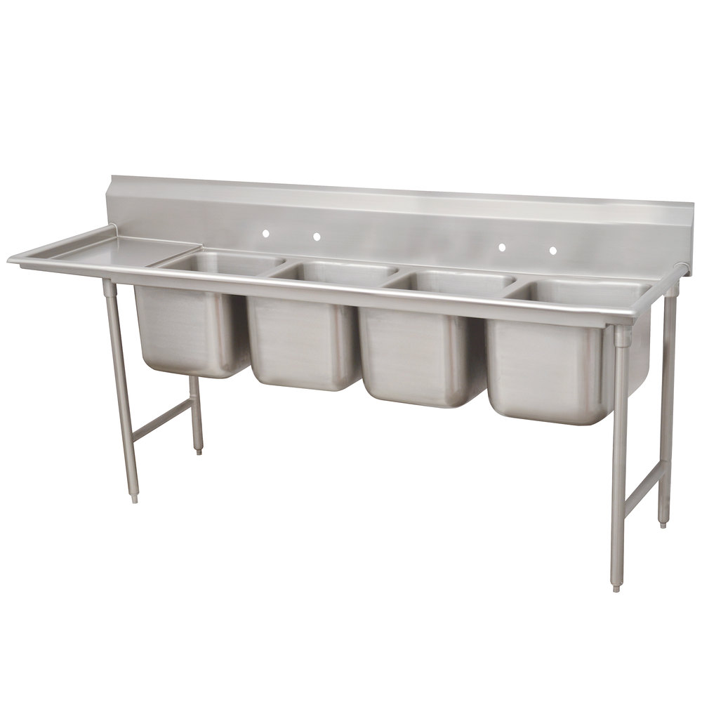 Advance Tabco 93-64-72-24 Regaline Four Compartment Stainless Steel Sink with One Drainboard - 109""