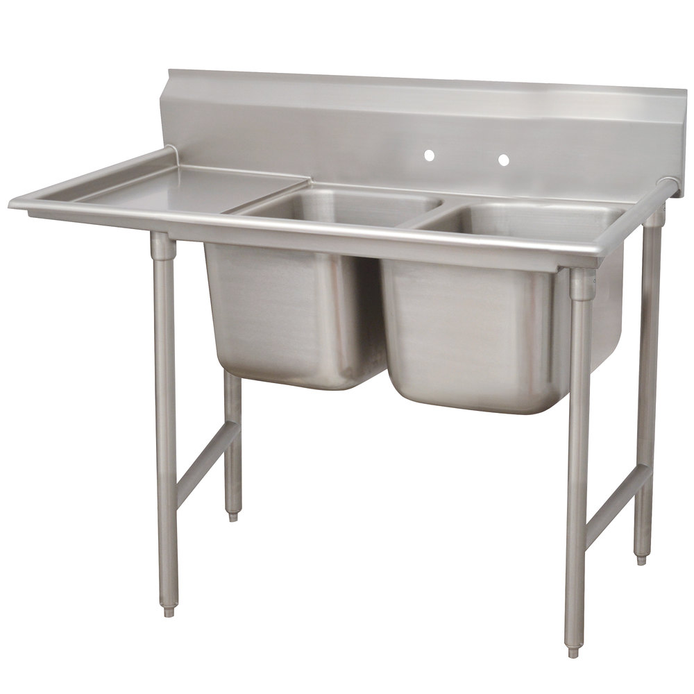 Advance Tabco 93-82-40-36 Regaline Two Compartment Stainless Steel Sink with One Drainboard - 84""