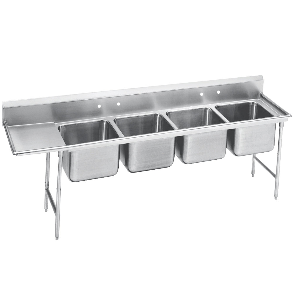 Advance Tabco 93-84-80-36 Regaline Four Compartment Stainless Steel Sink with One Drainboard - 129""
