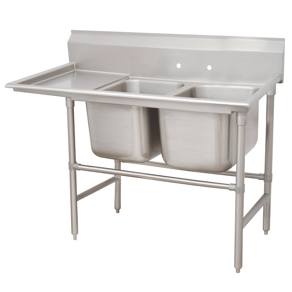 Advance Tabco 94-42-48-36 Spec Line Two Compartment Pot Sink with One Drainboard - 92""