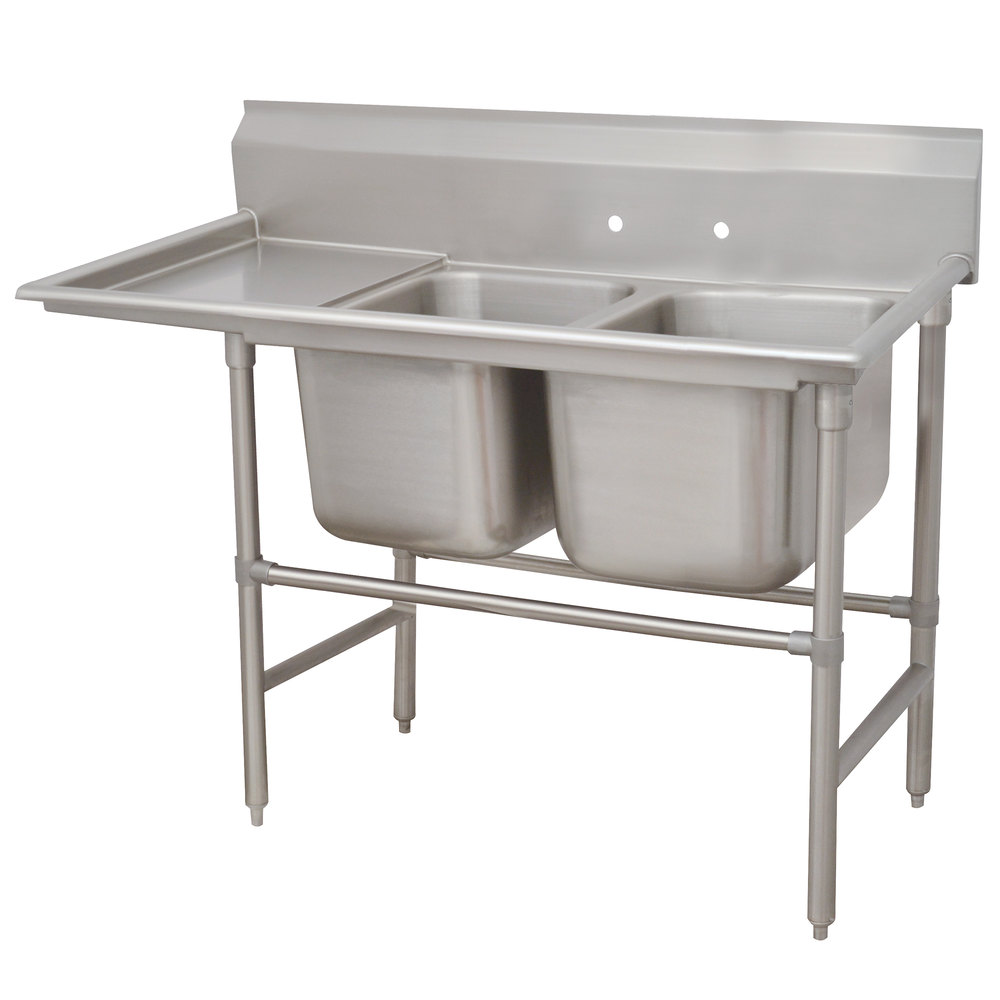 Advance Tabco 94-82-40-36 Spec Line Two Compartment Pot Sink with One Drainboard - 84""