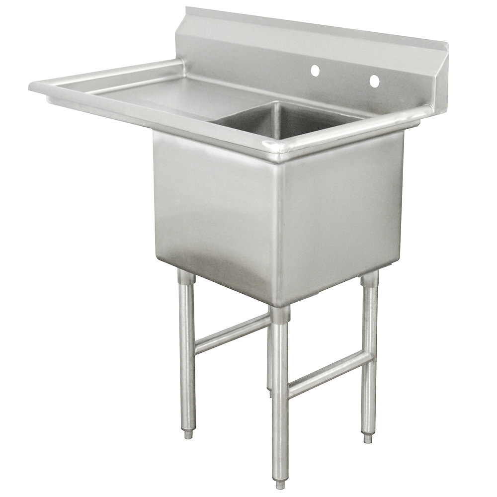Advance Tabco FC-1-1818-18 One Compartment Stainless Steel Commercial Sink with One Drainboard - 38 1/2""