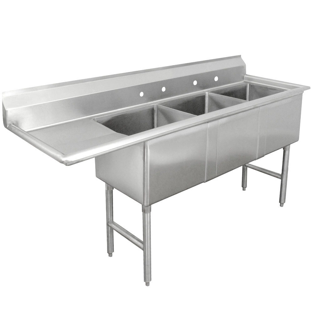 Advance Tabco FC-3-2424-24 Three Compartment Stainless Steel Commercial Sink with One Drainboard - 98 1/2""