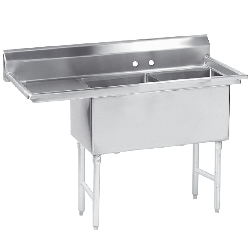 Advance Tabco FS-2-2424-18 Spec Line Fabricated Two Compartment Pot Sink with Drainboard - 68 1/2""