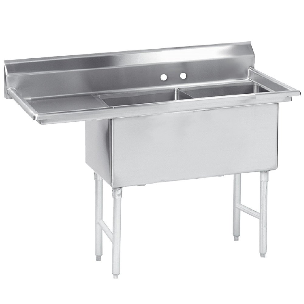Advance Tabco FS-2-3024-24 Spec Line Fabricated Two Compartment Pot Sink with Drainboard - 86 1/2""