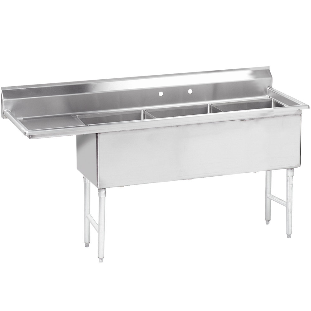 "Advance Tabco FS-3-1818-18 74 1/2"" Spec Line Fabricated Three Compartment Pot Sink with One Drainboard"