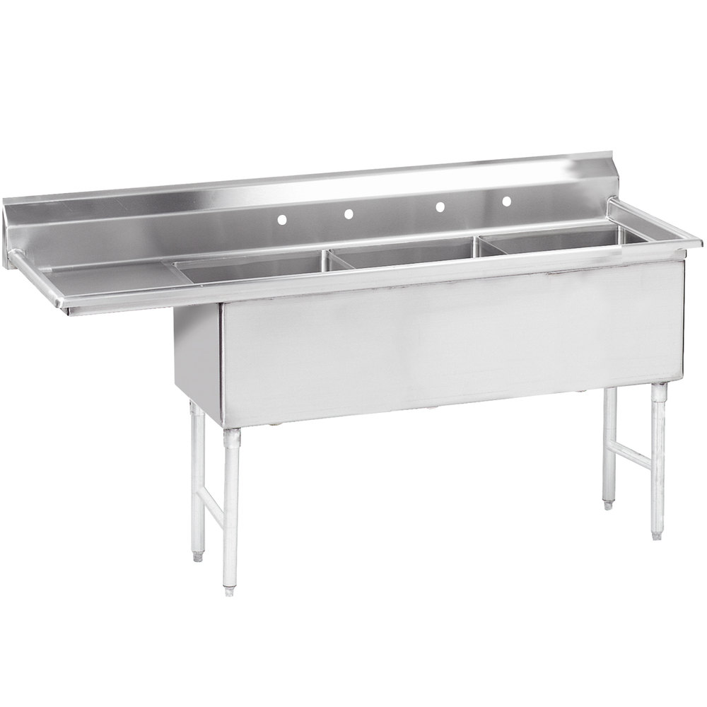"Advance Tabco FS-3-2424-24 98 1/2"" Spec Line Fabricated Three Compartment Pot Sink with One Drainboard"