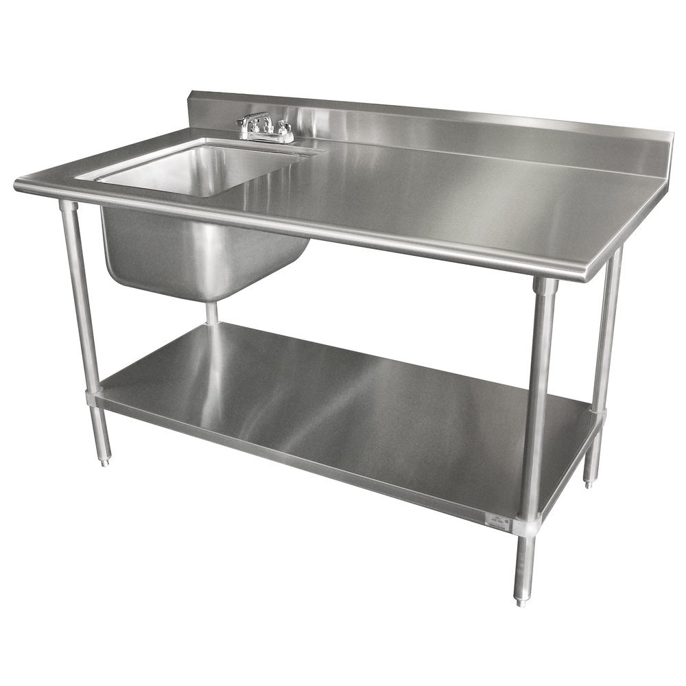 "Advance Tabco KMS-11B-305 30"" x 60"" 16 Gauge Stainless Steel Work Table with Sink"