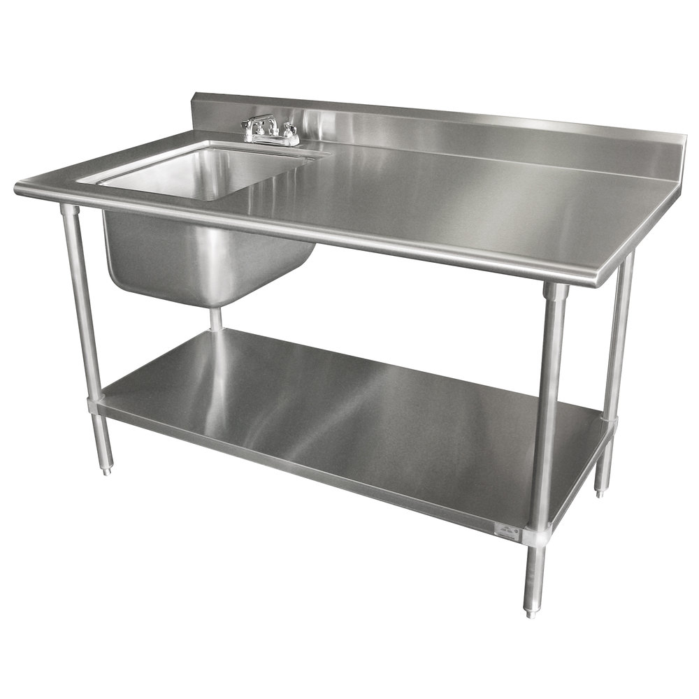 "Advance Tabco KMS-11B-306 30"" x 72"" 16 Gauge Stainless Steel Work Table with Sink"
