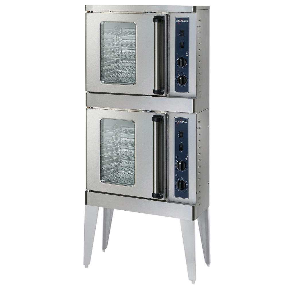 Alto-Shaam 2-ASC-2E/STK Platinum Series Stacked Half Size Electric Convection Oven with Manual Controls - 5000W