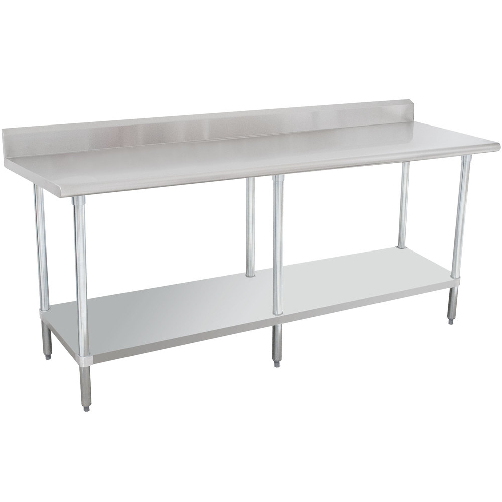 "16 Gauge Advance Tabco KLAG-308-X 30"" x 96"" Stainless Steel Work Table with 5"" Backsplash and Galvanized Undershelf"