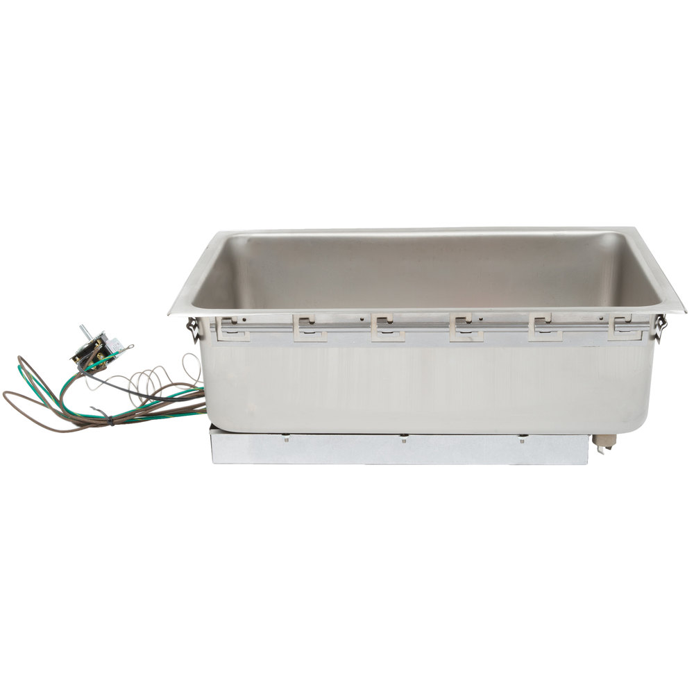 "APW Wyott BM-80D Bottom Mount 12"" x 20"" Insulated High Performance Hot Food Well with Drain and Square Corners"