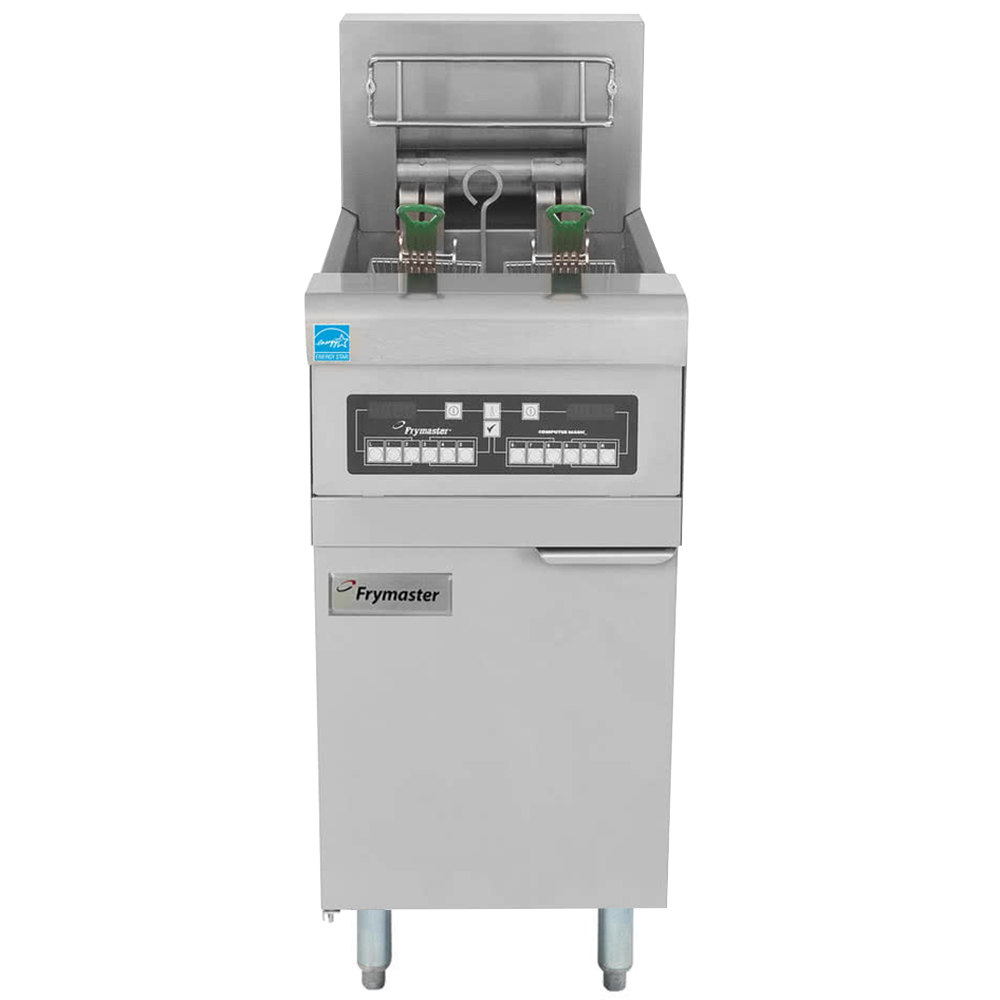 Frymaster RE22-2BLC-SD 50 lb. Split Pot High Efficiency Electric Floor Fryer with Computer Magic Controls and Basket Lifts - 208V, 3 Phase, 22 KW