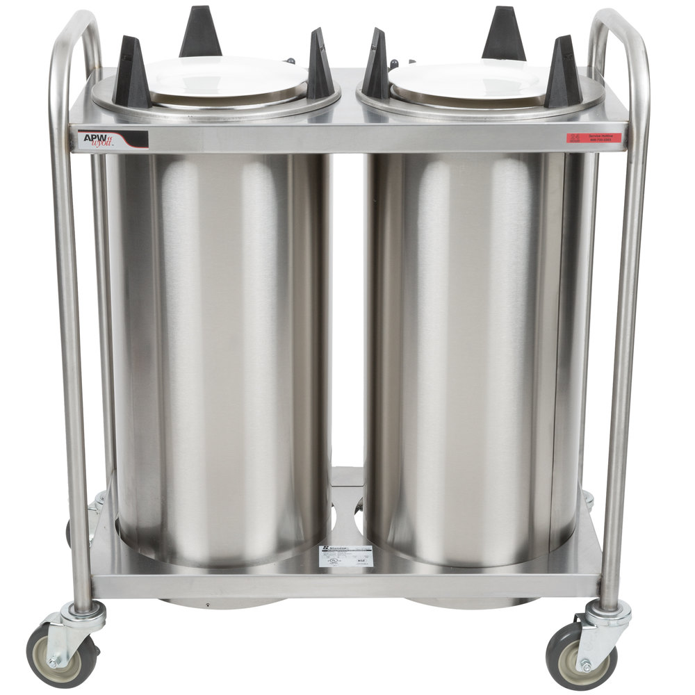 "APW Wyott HTL2-10 Trendline Mobile Heated Two Tube Dish Dispenser for 9 1/4"" to 10 1/8"" Dishes"