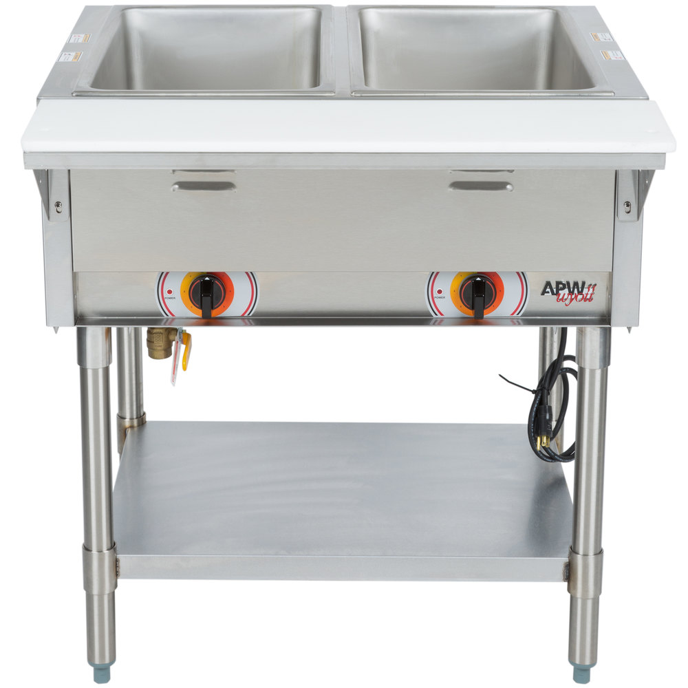 APW Wyott SST2 Stationary Steam Table - Two Pan - Sealed Well