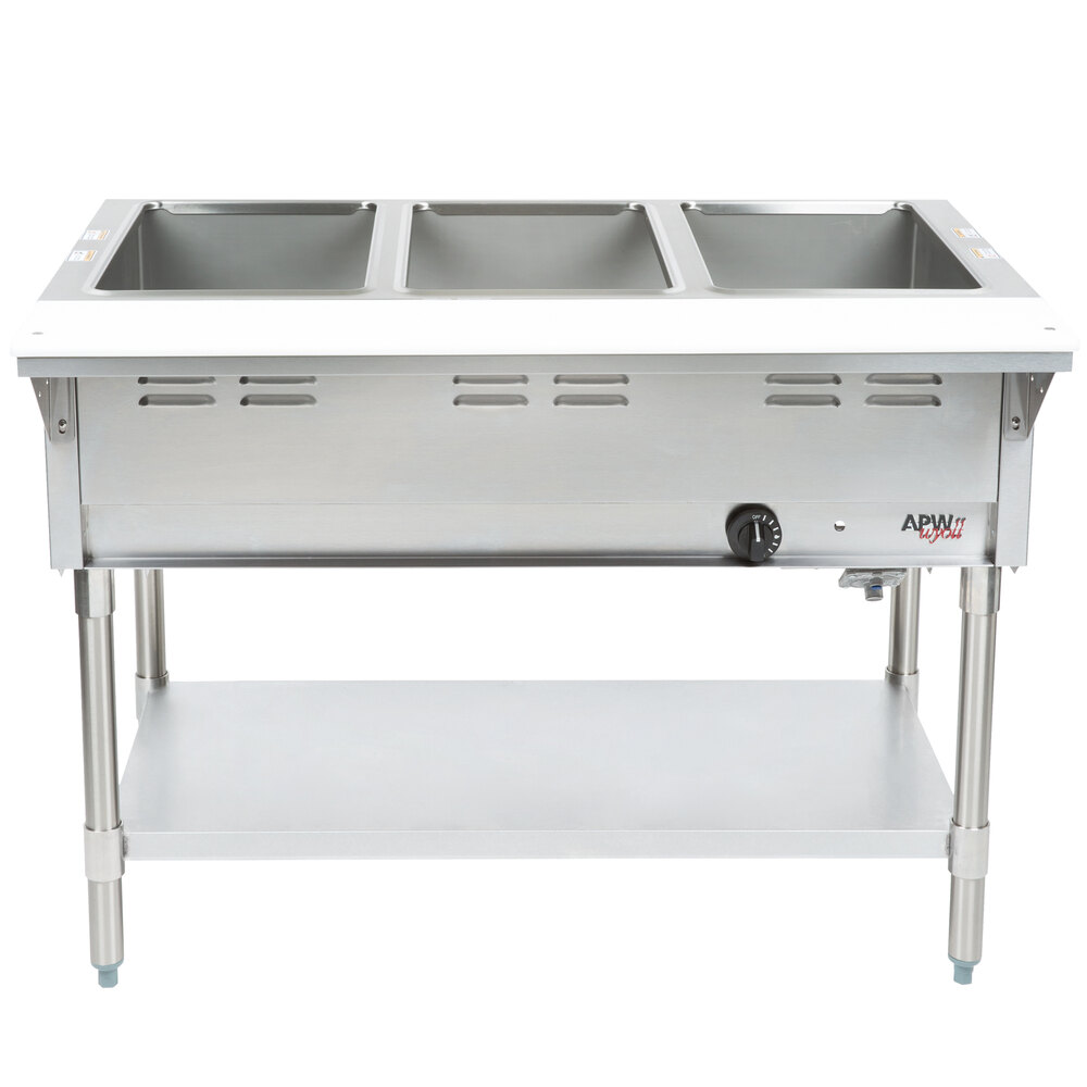 APW Wyott WGST-3 Champion Sealed Well Three Pan Gas Steam Table - Galvanized Undershelf and Legs