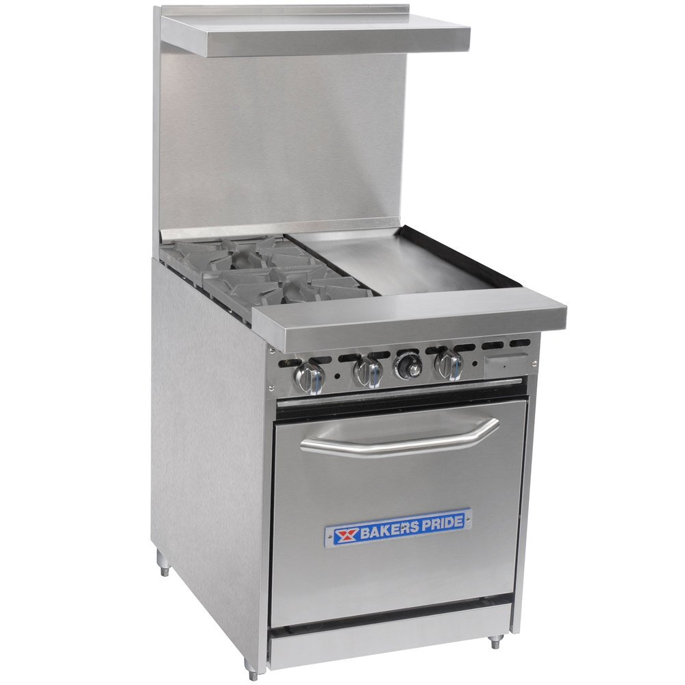 "Bakers Pride Restaurant Series 24-BP-2B-G12-S20 2 Burner Gas Range with Space Saver 20"" Oven and 12"" Griddle"