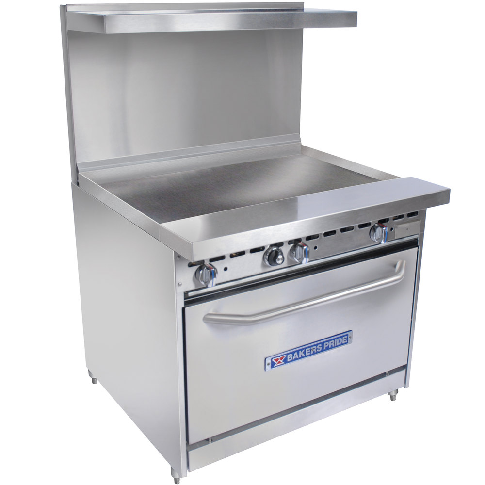 "Bakers Pride Restaurant Series 36-BP-0B-G36-S30 Gas Range with Standard 30"" Oven and 36"" Griddle"