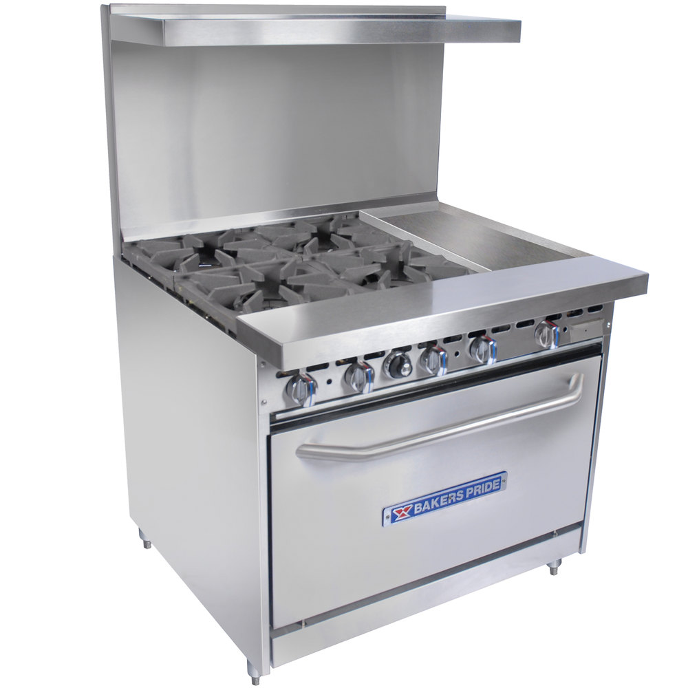 "Bakers Pride Restaurant Series 36-BP-4B-G12-S30 4 Burner Gas Range with Standard 30"" Oven and 12"" Griddle"