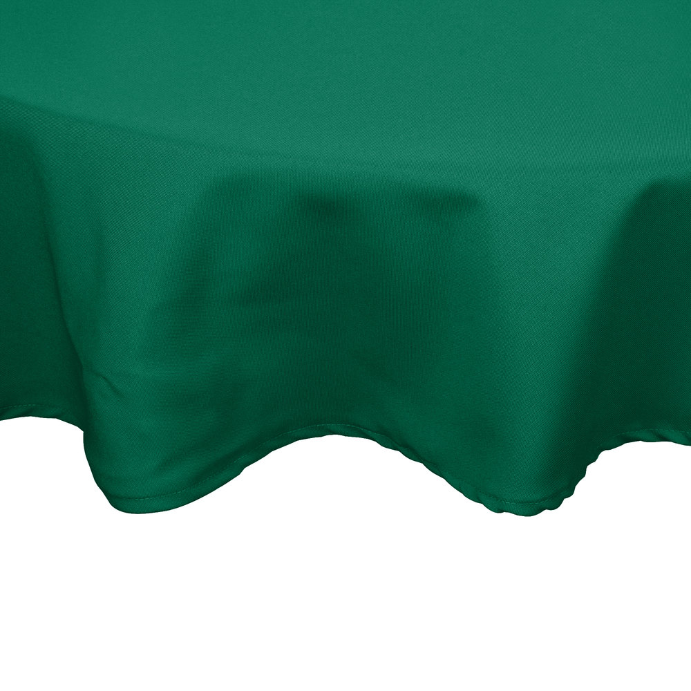 "54"" Green Round Hemmed Polyspun Cloth Table Cover"