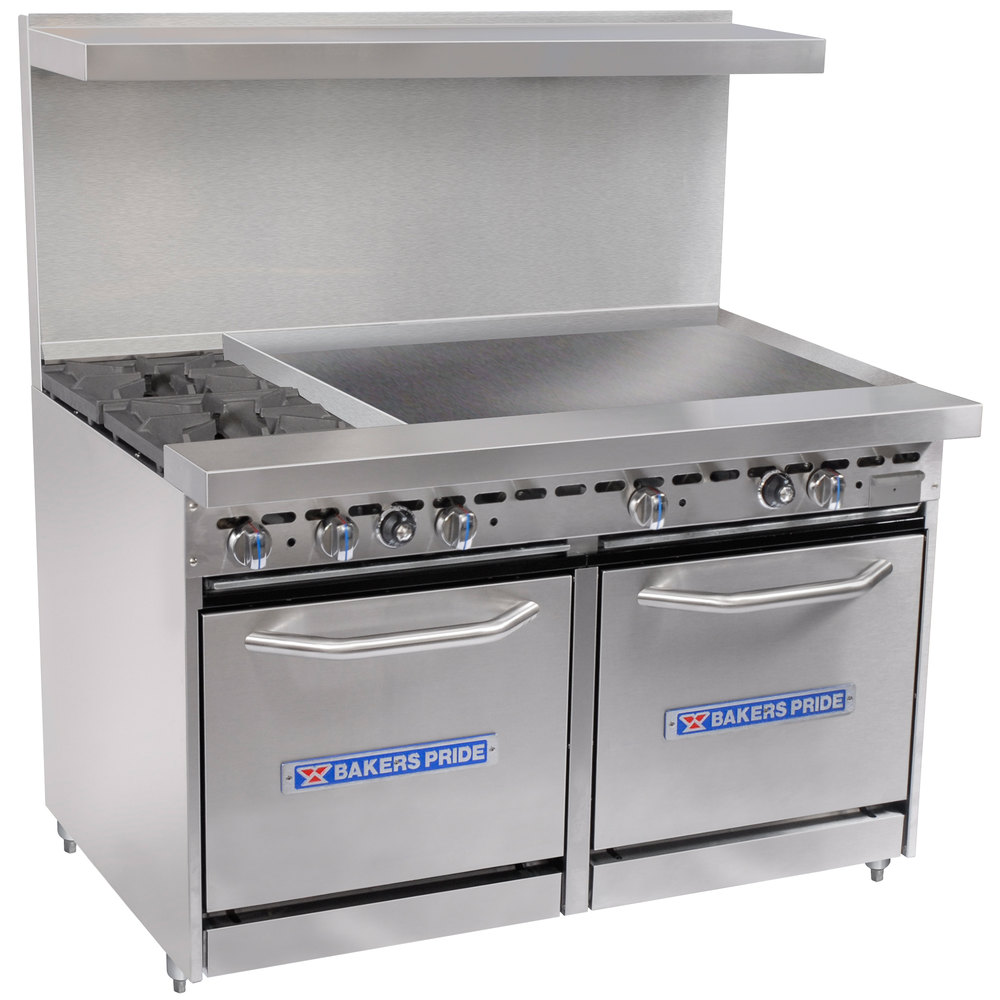 "Bakers Pride Restaurant Series 48-BP-2B-G36-S20 2 Burner Gas Range with Two Space Saver 20"" Ovens and 36"" Griddle"