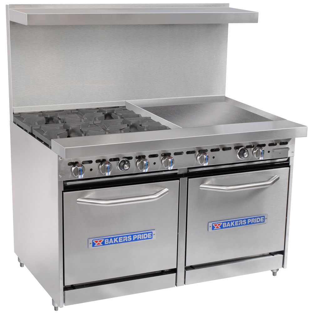 "Bakers Pride Restaurant Series 48-BP-4B-G24-S20 4 Burner Gas Range with Two Space Saver 20"" Ovens and 24"" Griddle"