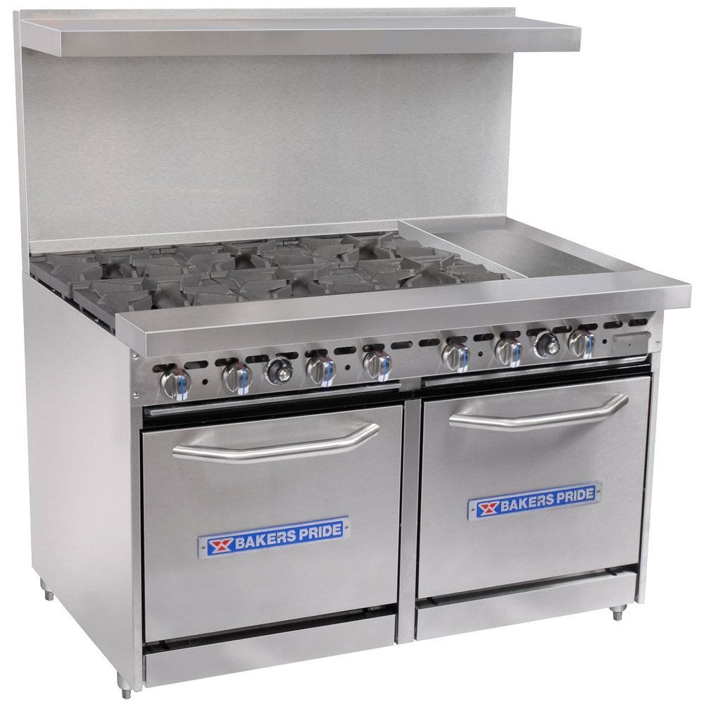 "Bakers Pride Restaurant Series 48-BP-6B-G12-S20 6 Burner Gas Range with Two Space Saver 20"" Ovens and 12"" Griddle"
