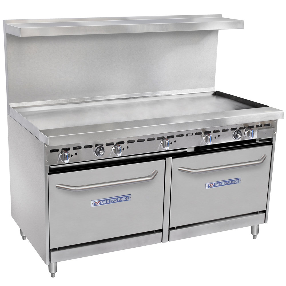 "Bakers Pride Restaurant Series 60-BP-0B-G60-S26 Gas Range with Two Standard 26"" Ovens and 60"" Griddle"