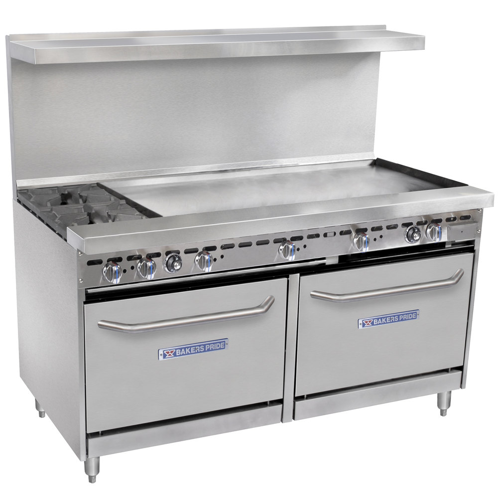 "Bakers Pride Restaurant Series 60-BP-2B-G48-S26 2 Burner Gas Range with Two Standard 26"" Ovens and 48"" Griddle"