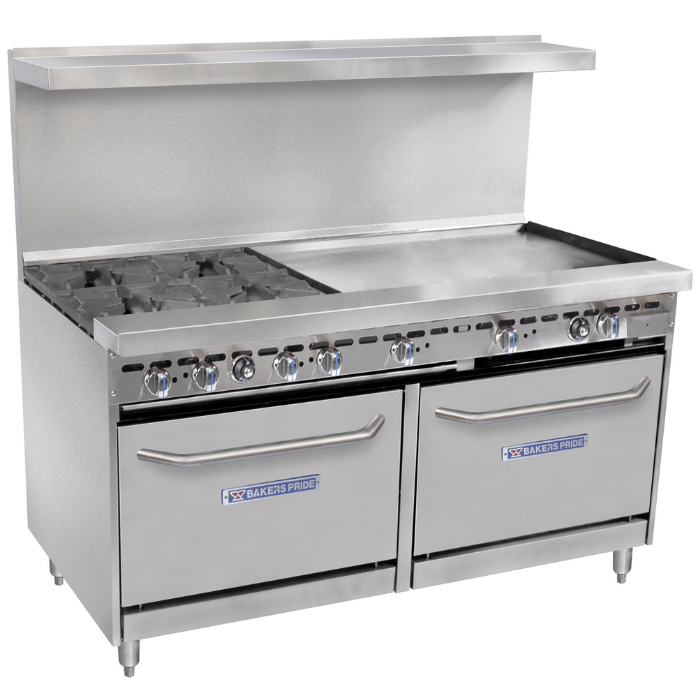"Bakers Pride Restaurant Series 60-BP-4B-G36-S26 4 Burner Gas Range with Two Standard 26"" Ovens and 36"" Griddle"