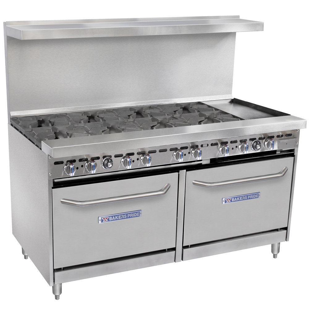 "Bakers Pride Restaurant Series 60-BP-8B-G12-S26 8 Burner Gas Range with Two Standard 26"" Ovens and 12"" Griddle"