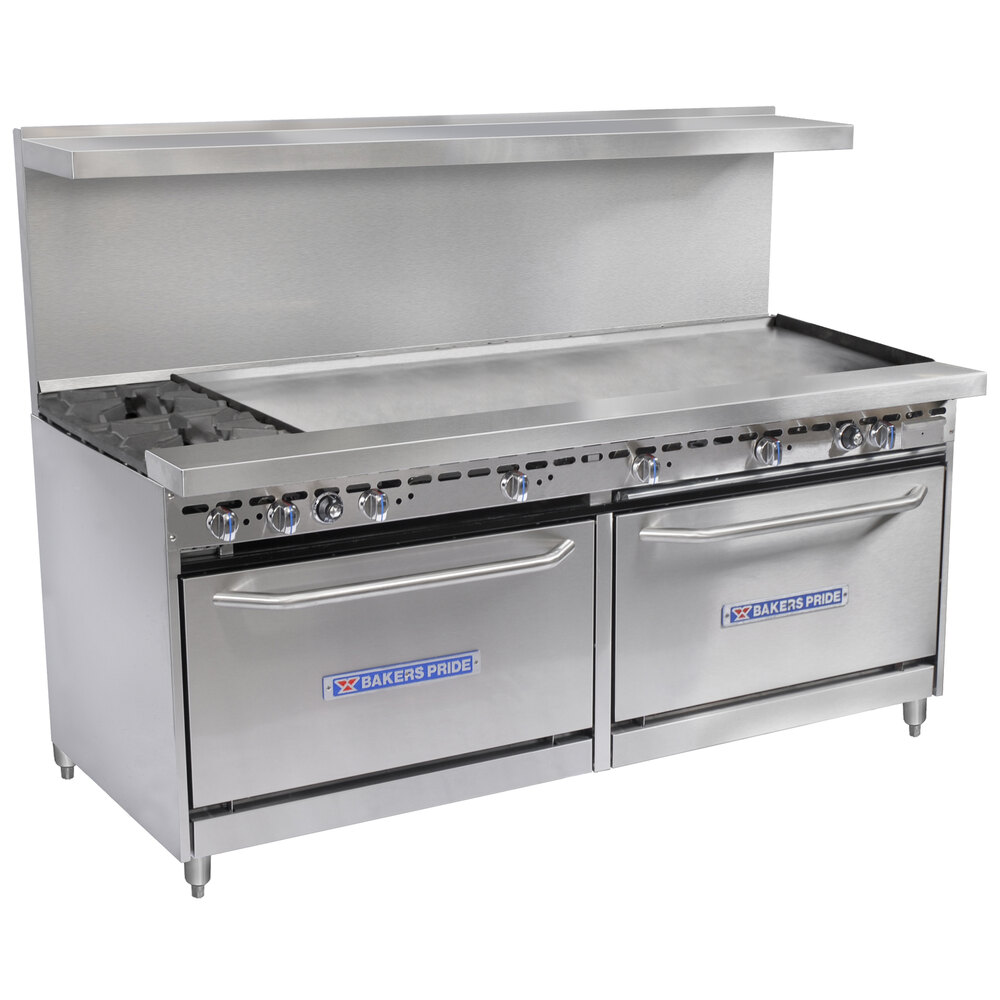 "Bakers Pride Restaurant Series 72-BP-2B-G60-S30 2 Burner Gas Range with Two Standard 30"" Ovens and 60"" Griddle"