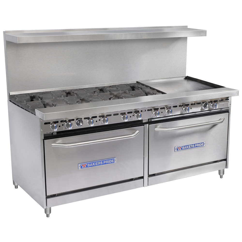 "Bakers Pride Restaurant Series 72-BP-8B-G24-S30 8 Burner Gas Range with Two Standard 30"" Ovens and 24"" Griddle"