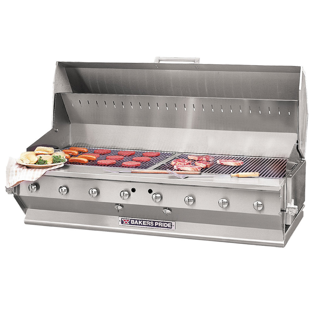 "Bakers Pride CBBQ-60S-BI 60"" Ultimate Built-In Gas Outdoor Charbroiler with Grill Cover"