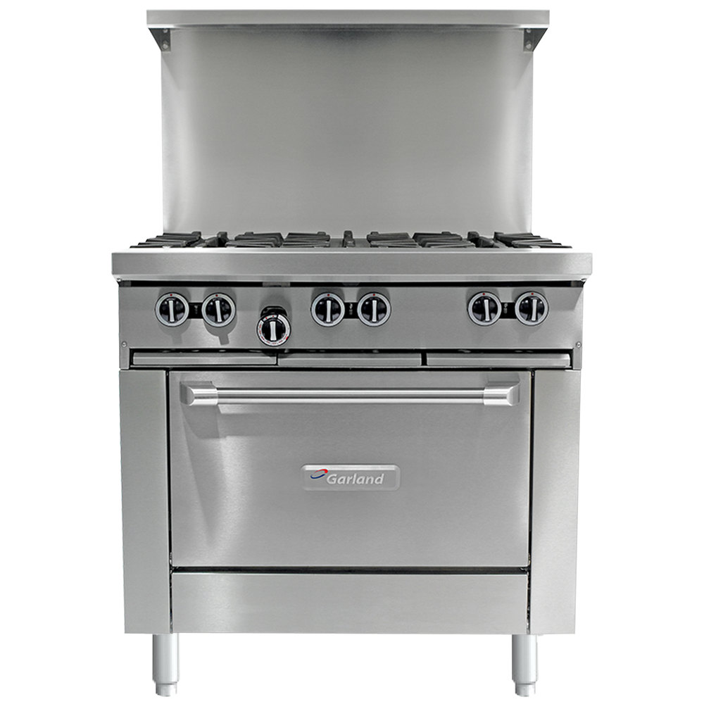 "Garland G36-4G12S 4 Burner 36"" Gas Range with 12"" Griddle and Storage Base - 150,000 BTU"
