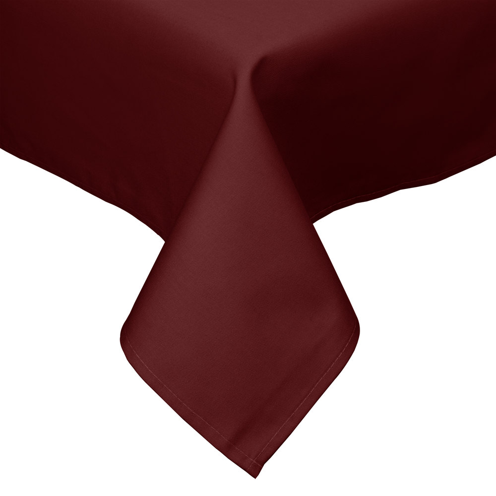 "54"" x 54"" Burgundy Hemmed Polyspun Cloth Table Cover"