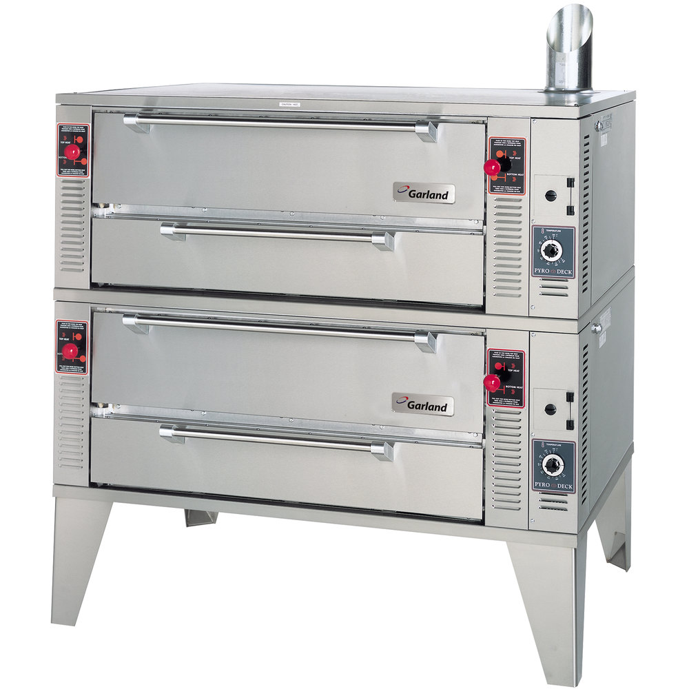 "Garland GPD60-2 75"" Pyro Double Deck Gas Pizza Oven - 244,000 BTU"