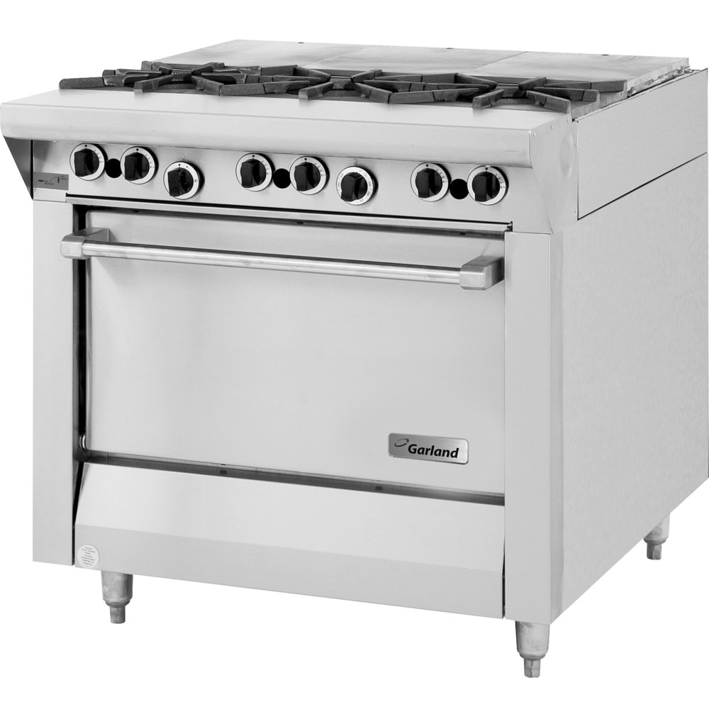 "Garland M43FTS Master Series 3 Burner 34"" French Top Gas Range with 3 Even Heat Hot Tops and Storage Base - 102,000 BTU"