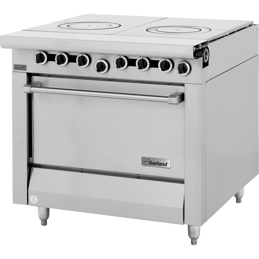 "Garland M45S Master Series 2 Section Front Fired Hot Top 34"" Gas Range with Storage Base - 90,000 BTU"