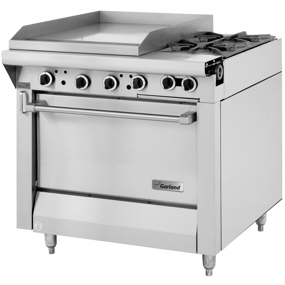 "Garland M48-23S Master Series 2 Burner 34"" Gas Range with 23"" Griddle and Storage Base - 114,000 BTU (Thermostatic Controls)"