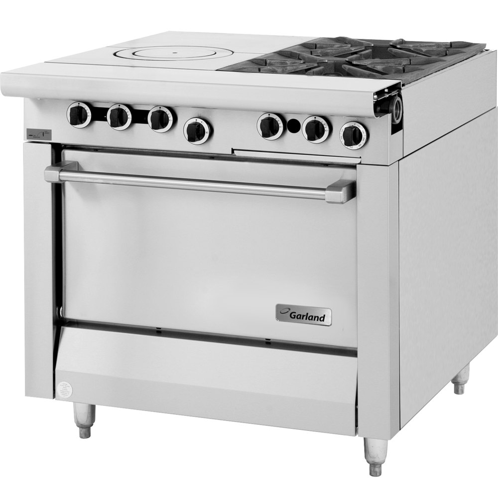 "Garland M54S Master Series 2 Burner 34"" Gas Range with Front Fired Hot Top and Storage Base - 115,000 BTU"
