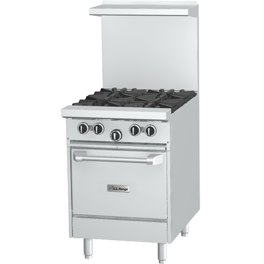 "U.S. Range U24-4L 4 Burner 24"" Gas Range with Space Saver Oven - 160,000 BTU"
