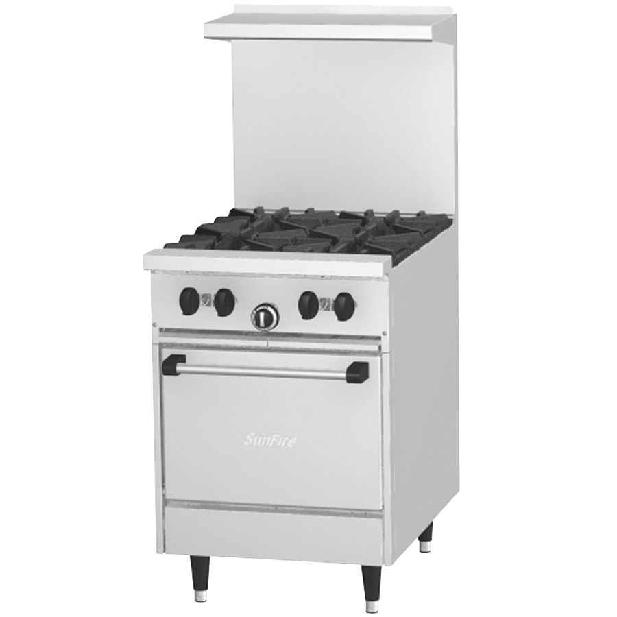 "Garland SunFire Series X24-4L 4 Burner 24"" Gas Range with Space Saver Oven - 145,000 BTU"