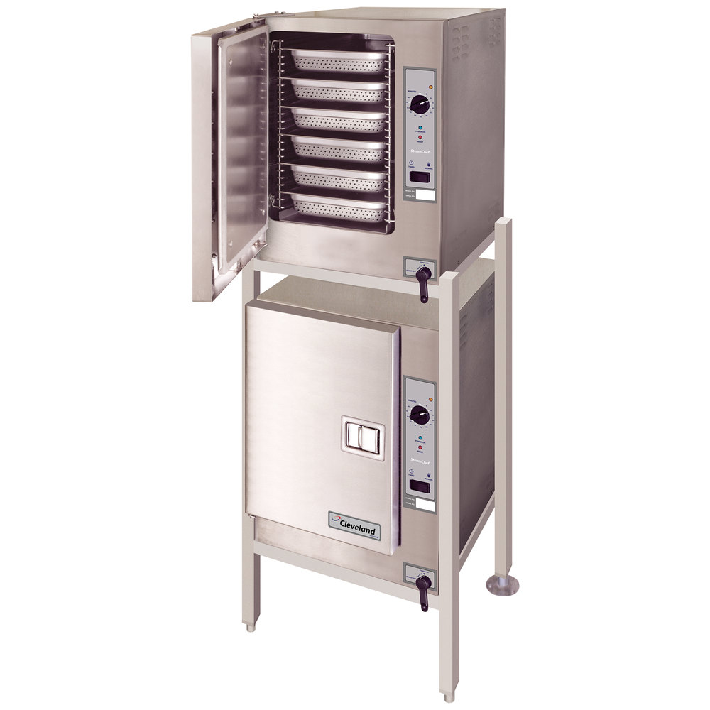 Cleveland (2) 22CET6.1 SteamChef 6 Double Deck 12 Pan Electric Floor Steamer - 24 kW