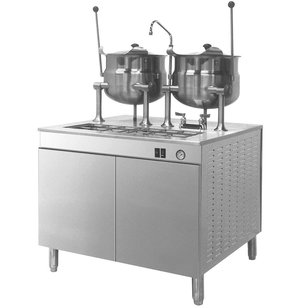 Cleveland 36-EM-K66-24 Electric Tilting (2) 6 Gallon 2/3 Steam Jacketed Kettles with Modular Generator Base - 24 kW