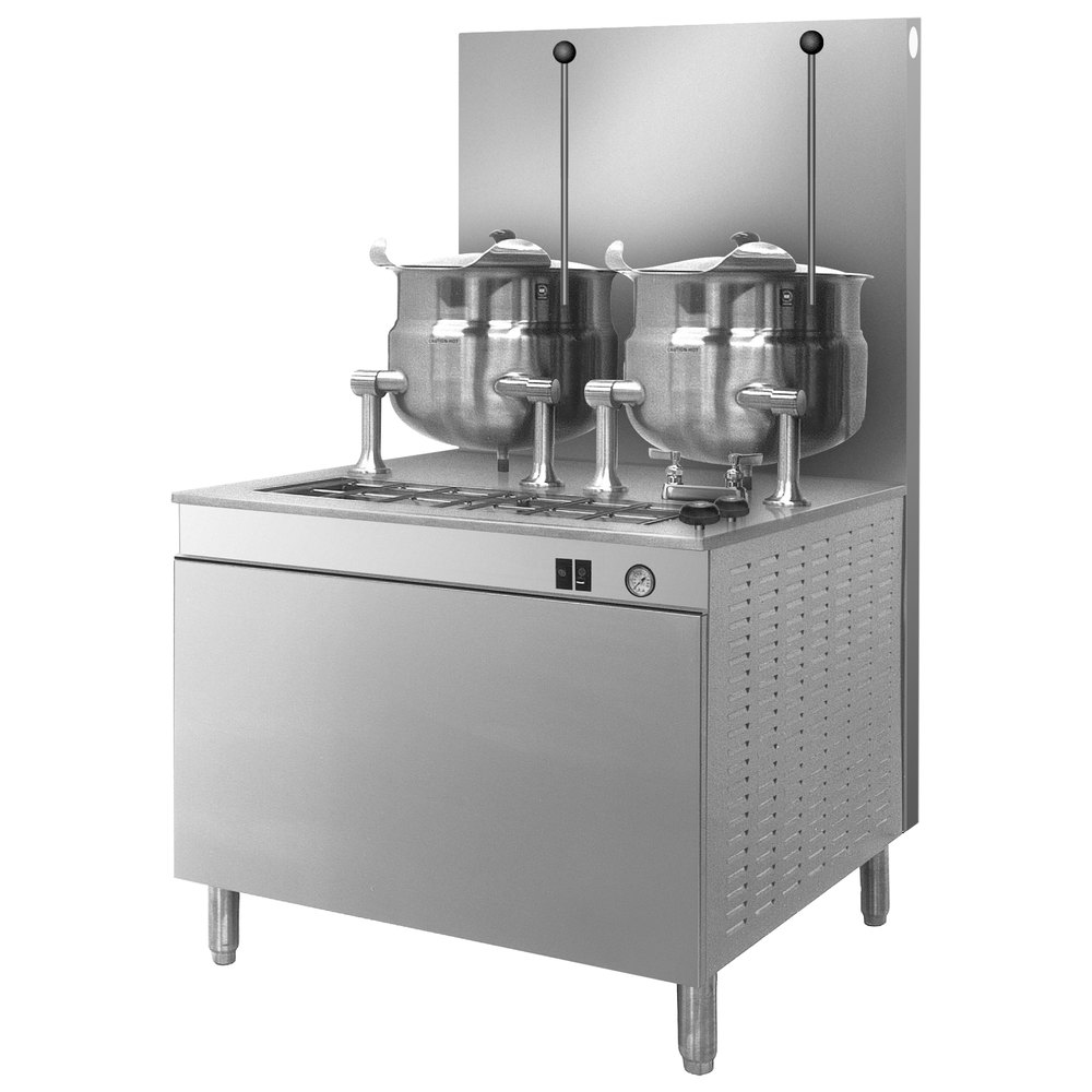 Cleveland 36-GM-K66-300 (2) 6 Gallon Tilting 2/3 Steam Jacketed Gas Kettles with Modular Generator Base - 300,000 BTU