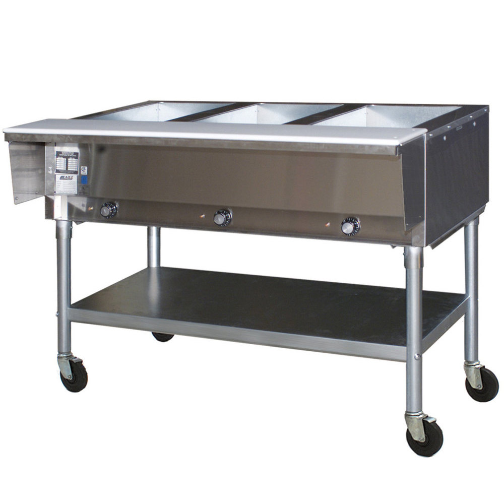 120V Eagle Group SPDHT3 Portable Hot Food Table Three Pan - All Stainless Steel - Open Well