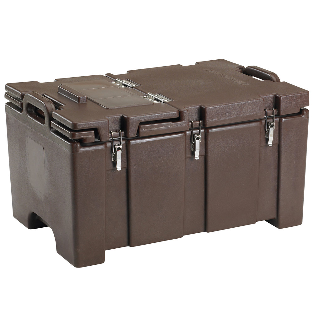 "Cambro 100MPCHL131 Camcarrier Dark Brown Top loading Pan Carrier with Hinged Lid for 12"" x 20"" Food Pans"